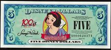 2002 Series Disney Dollar $5 Snow White VF A00062437A. Disney's real currency!