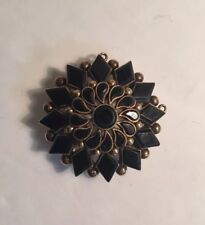 Antique Victorian 1800s ONYX MOURNING 10k Yellow Gold BROOCH Pin