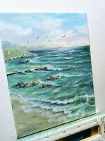 """Art 14""""/11"""" oil painting beach shore, seascape, landscape, ocean view, waves"""