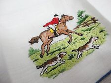 Vintage Cocktail Napkin - Foxhunting Theme - Incredible Embroidery - Madeira