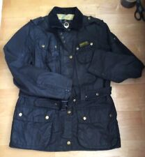 Ladies Barbour International Black Waxed Cotton Biker Jacket. Size 16, EU42
