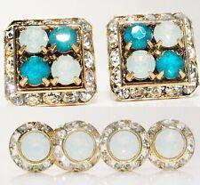 White & Blue Opal Cufflinks & Studs Combo Tuxedo Set Made W/Swarovski Crystals