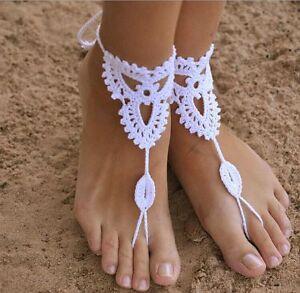 Handmade Crochet Cotton Barefoot Sandals Yoga Ankle Chain Anklet Triangle Flower