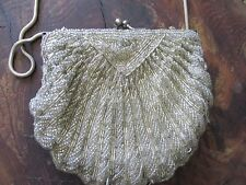 Vintage silver beaded evening formal shell clutch purse chain strap UGC