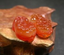 CHINESE Icy Red AGATE JADE PENDANT Pair Dragon Pi xiu Coin Feng Shui 248324