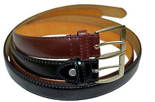 "DRESS BELT MENS BIG AND TALL NEW SET OF 2 BLACK BROWN SIZE 46"" STYLISH BUCKLE"