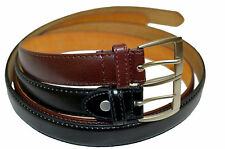 "DRESS BELT MENS BIG AND TALL NEW SET OF 2 BLACK BROWN SIZE 52"" STYLISH BUCKLE"