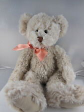 "14"" Godfrey Teddy Bear Russ Berrie Plush Vintage Latte color corduroy feet Sweet"