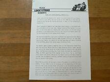 PM191 ROBERTS TEAM LUCKY STRIKE 1986 PRESSE INFO 2 PAGES DUTCH TT ASSEN