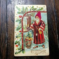 1890's Victorian Christmas Card Santa w Basket Of Toys Embossed Xmas Post Card