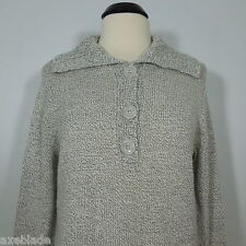 ST. JOHN'S BAY  Women's Gray Knit Sweater Collared with Half Way Buttons size L