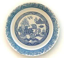 "Large Blue/White Enameled Metal Tray, Asian Landscape Scenes, 19"" Diameter"