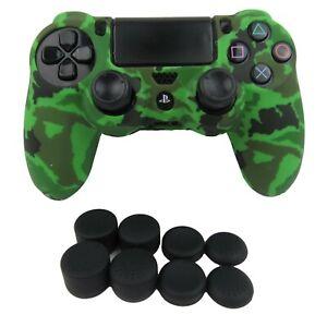 Silicone Grip Green Camo Non Slip + (8) Thumb Grip Caps For PS4 Controller