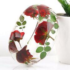 Handmade Real flower Botanical garden lucite bangle bracelet.{30}