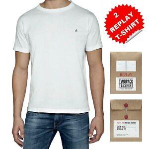 REPLAY 2 pack t-shirt da uomo taglia M bianco maglietta basic puro cotone in box