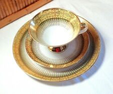 Winterling 3 Piece Luncheon Set / Wide Band Yellow, Green, Gold / Bavaria