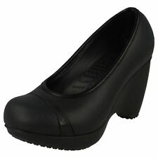 Ladies Crocs Black Slip on Wedge Casual Court Shoes Style - Lena W4