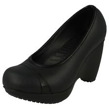Ladies Crocs Black Slip on Wedge Casual Court Shoes Style - Lena W4