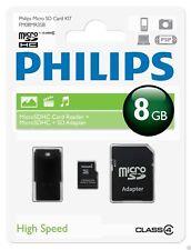 Philips MicroSDHC-Karte 8GB, Class 4 mit SD und USB Adapter FM08MR35B