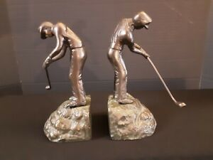 Paloma Collection Cast Metal Golfer Bookends With Patina