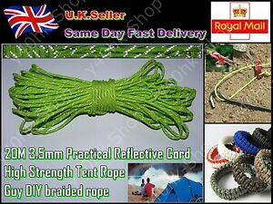 20M 3.5mm Practical Reflective Cord High Strength Tent Rope Guy DIY braided rope