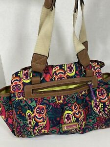Lily Bloom Paisley Owl Shoulder Purse Bright Colors  Yellow Lining