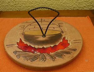 Serviteur de table ou plateau à fromage en terre cuite émaillé (429013)