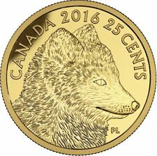 2016 25c Fox and Hare: Traditional Arctic Fox .9999 Pure Gold Coin