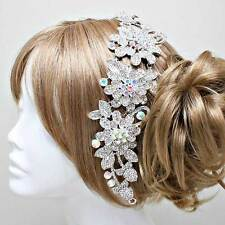 Silver and AB Flower Hair Comb