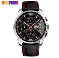 SKMEI Men Chronograph Sport Watch Leather Quartz-Watch Waterproof Clock Date