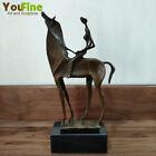 Vintage Art Bronze Abstract Sculpture Bronze Female Ridding Horse Statue Crafts
