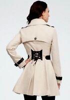 NEW bebe black ivory tan contrast lace up dress trench coat jacket M medium 6 8