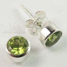 Natural PERIDOT Gemstone Beautiful Stud Post Earrings 925 Pure Sterling Silver