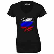 Torn Russia Flag Women's V-Neck Russian Moscow Country national football