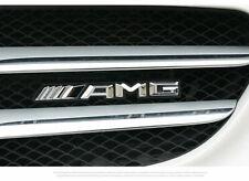 Silver Front Hood Grille Grill Metal Badge For Mercedes-Benz AMG Logo Emblem
