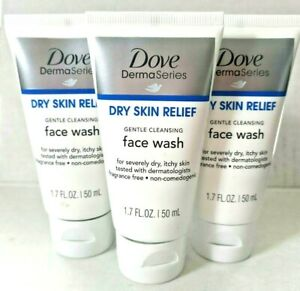 3 Dove Derma Series Dry Skin Relief Face Wash Gentle Cleansing Travel Size Tube