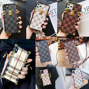 For iPhone 11 Pro Max XS XR 7/8 Case Luxury Metal Corner Square PU Leather Cover