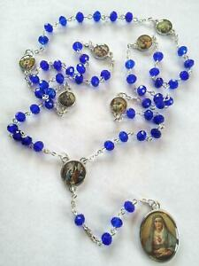 Seven Sorrows Rosary Our Lady   Blue CRYSTAL Beads Mater Dolorosa