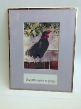 Vintage Watercolor Lori Quarton 8x10 Framed Black Chicken on Fence Print #15