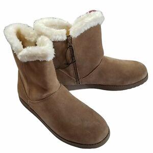 Universal Thread Cat Mid Shearling Zipper Up Suede Boots Shoe Chestnut Women 11