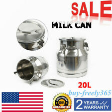 20 L525 Gallon Stainless Steel Milk Can Wine Pail Bucket Tote Jug Equipment