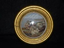 ANTIQUE STAFFORDSHIRE POT LID PEACE FRAMED GOLD LEAF