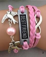 Infinity Bracelet Infinite Leather Braided Best Friend Birds Dove Bead Pink