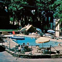 Vintage 1960s Lake Arrowhead Inn Cottages Postcard Resort Swimming Pool People