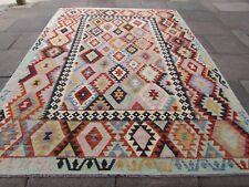 Vintage Kilim Traditional Hand Made Oriental Pink Wool Large Kilim 345x355cm