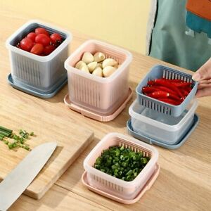 Refrigerator Fresh Produce Vegetable Fruit Storage Containers Draining Crisper