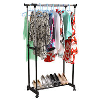 Adjustable Double Rolling Rail Adjustable Clothes Garment Rack Hanger Hanging