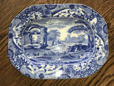 Antique Copeland Spode Italian Blue Small Oblong Plate Or Dish