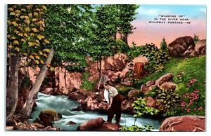 Washing Up in the River near Stairway Portage, BWCA, MN Postcard *5D
