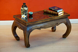 Coffee Table Solid Wood Opium Living Room Elephant Carving Glass Plate